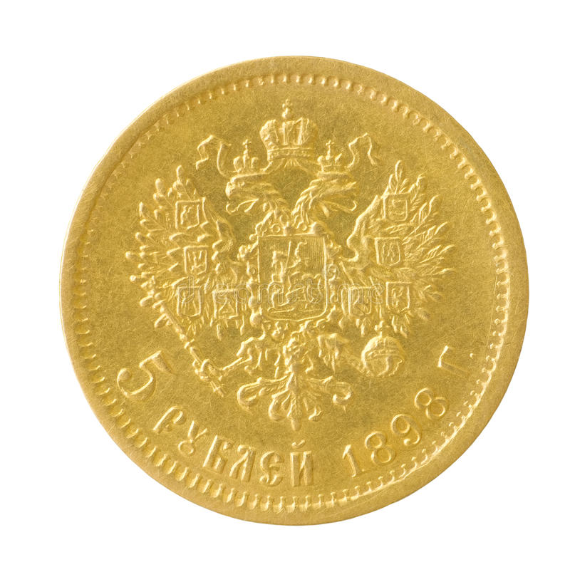Gold coin. Of the Russian empire on white background royalty free stock images
