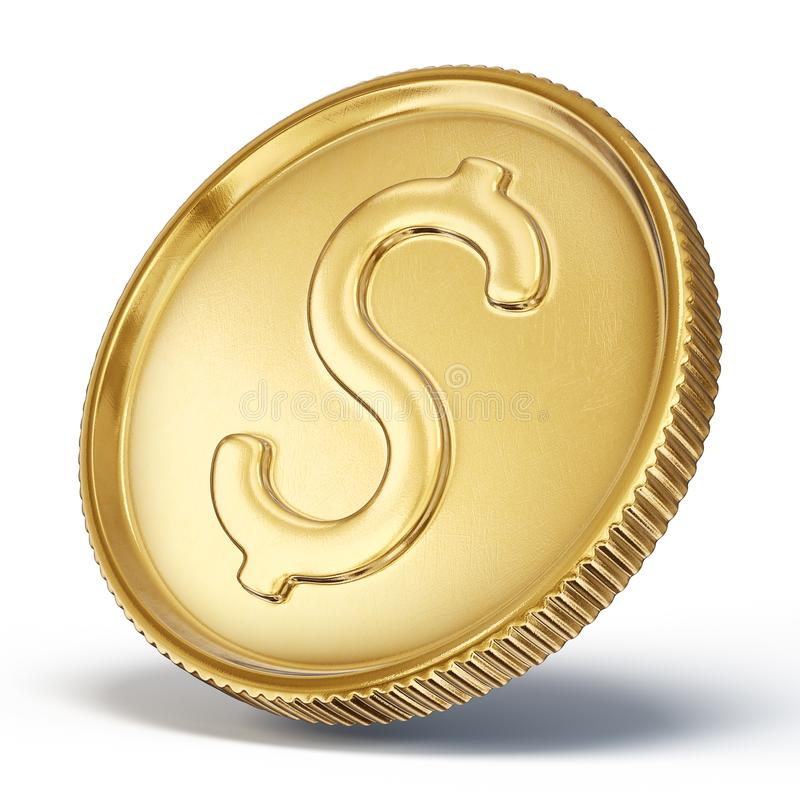 Coin. Gold coin sign isolated on a white backgrond. 3d illustration royalty free illustration
