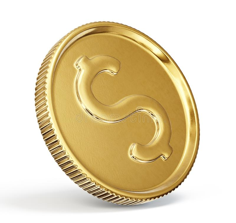Coin. Gold coin sign isolated on a white backgrond. 3d illustration vector illustration