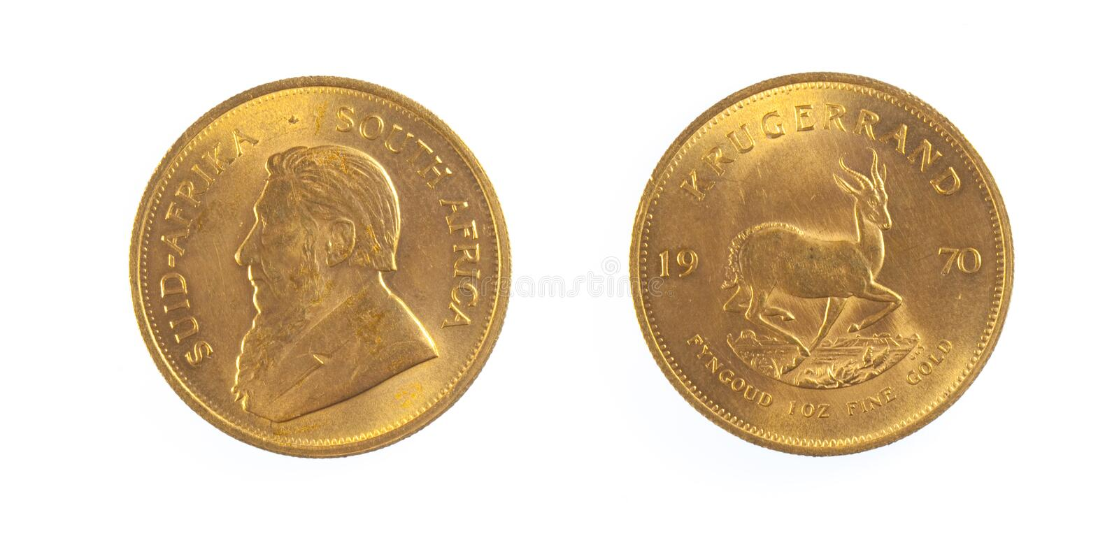 Gold coin of South Africa. Front and back of fine gold, isolated on pure white background stock images