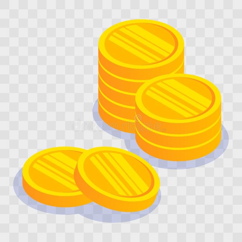 Gold coin stack on light transparent background. Vector illustration in 3d isometric style. Flat yellow money. stock illustration