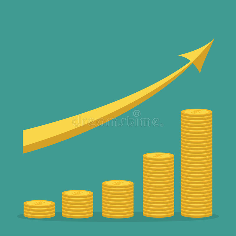 Gold coin stacks icon in shape of diagram. Golden up arrow. Dollar sign symbol. Cash money. Going up graph. Income and profits. Gr stock illustration