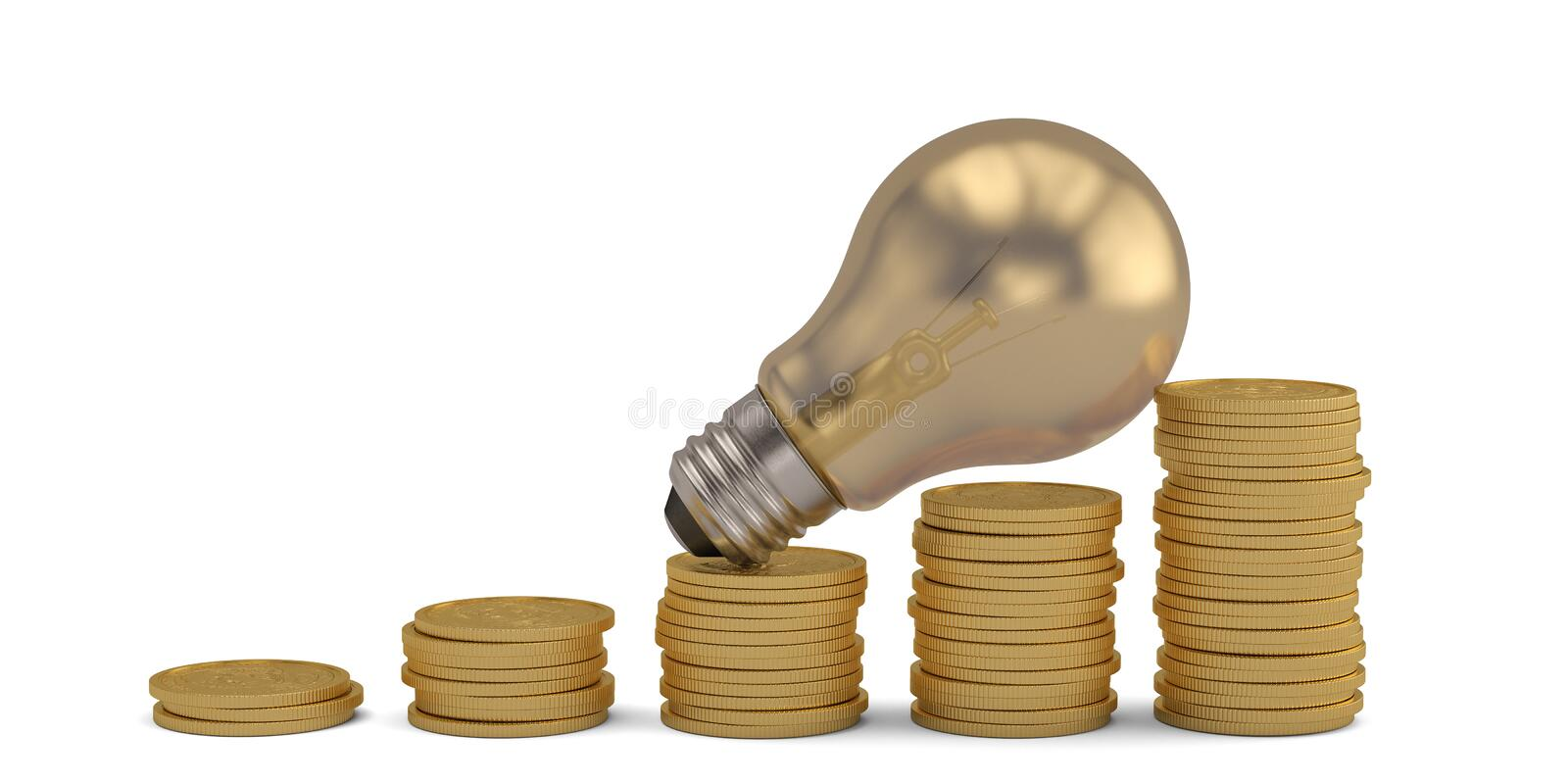Gold coin stacks and light bulb isolated on white background. 3D illustration royalty free illustration