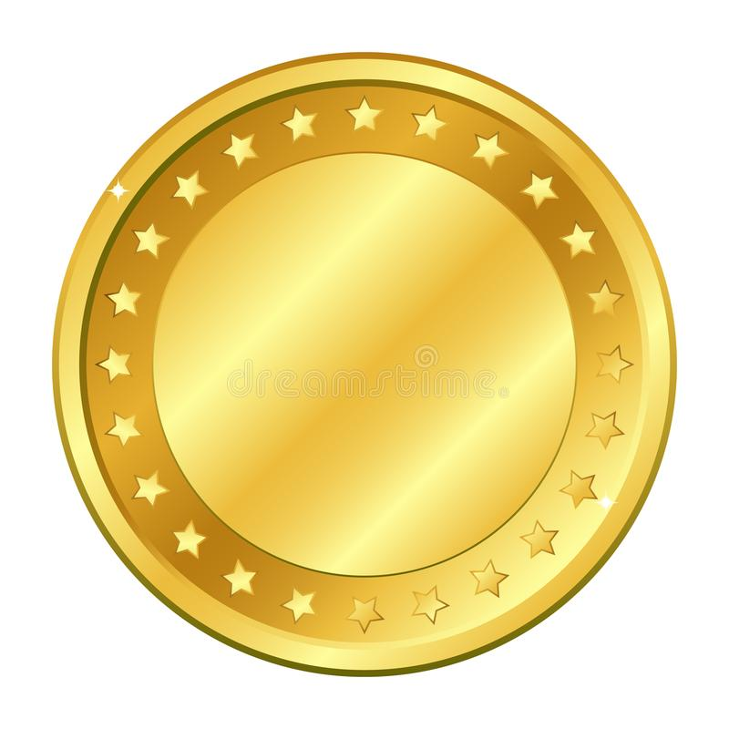 Gold coin with stars. Vector illustration isolated on white background. Editable elements and glare. royalty free stock photos