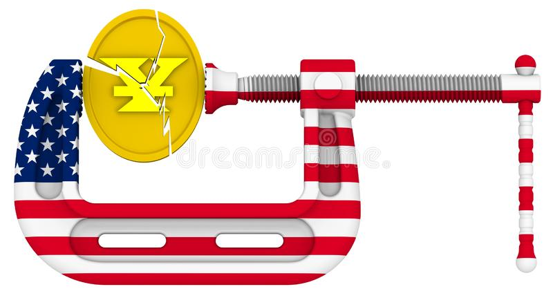 USA sanctions pressure on the Chinese economy. Concept stock illustration