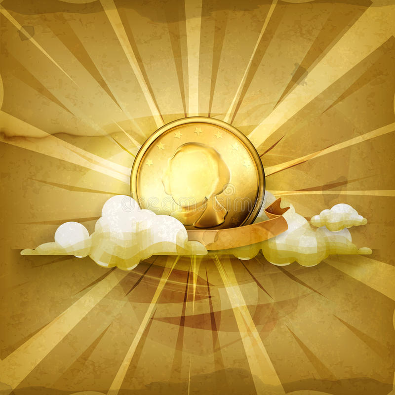 Gold coin vector background stock illustration