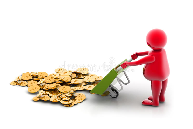 Download Gold Coin In Wheelbarrow stock illustration. Illustration of coin - 15770697