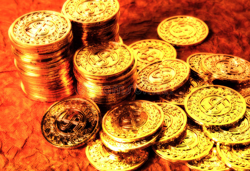 Gold Coins 2. Gold Coins With Color and Blur