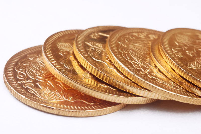 Gold coins. In Golden tone