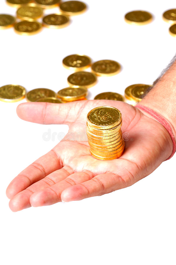 Gold coins stock image