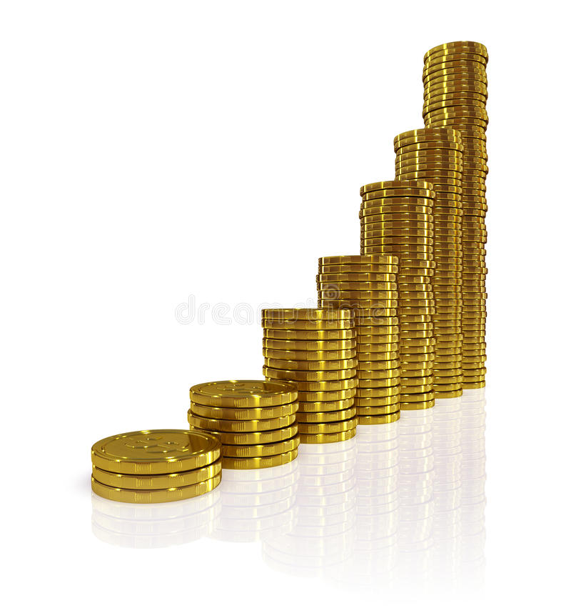 Download Gold coins stock illustration. Image of currency, savings - 9595211