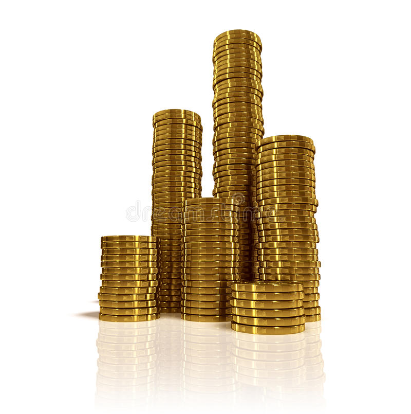 Gold coins. Stacks of gold coins on white background