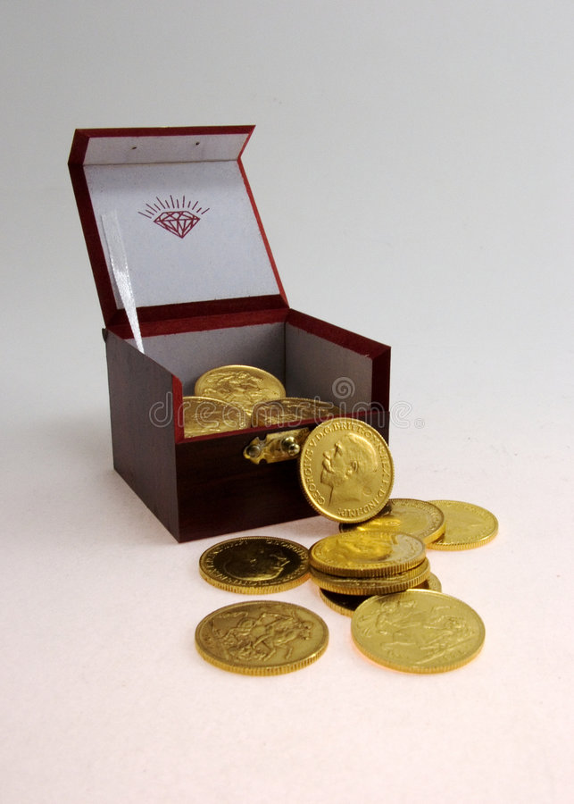 Free Gold Coins And The Box. Stock Photos - 6255303