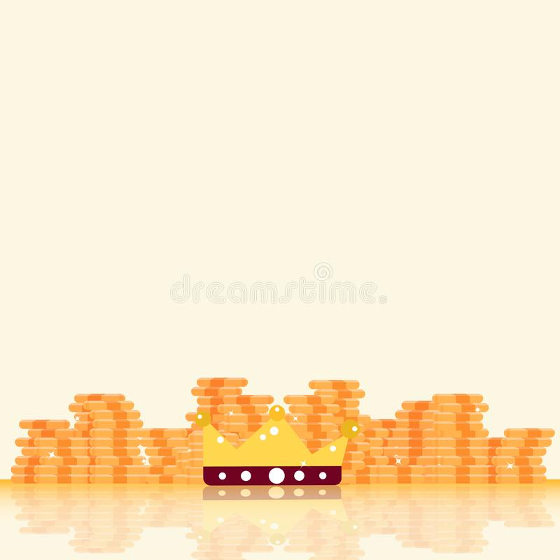 Gold coins, bitcoin, money and king crown reward with stars shin royalty free illustration
