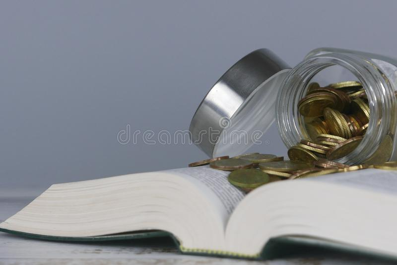 Gold coins on book. Finance and education concept. Copy space for text or logo royalty free stock photo
