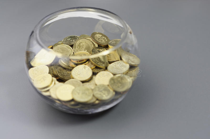 Gold Coins in the Bowl - Financial Concept. Gold coins inside of the bowl - Financial Concept stock photo