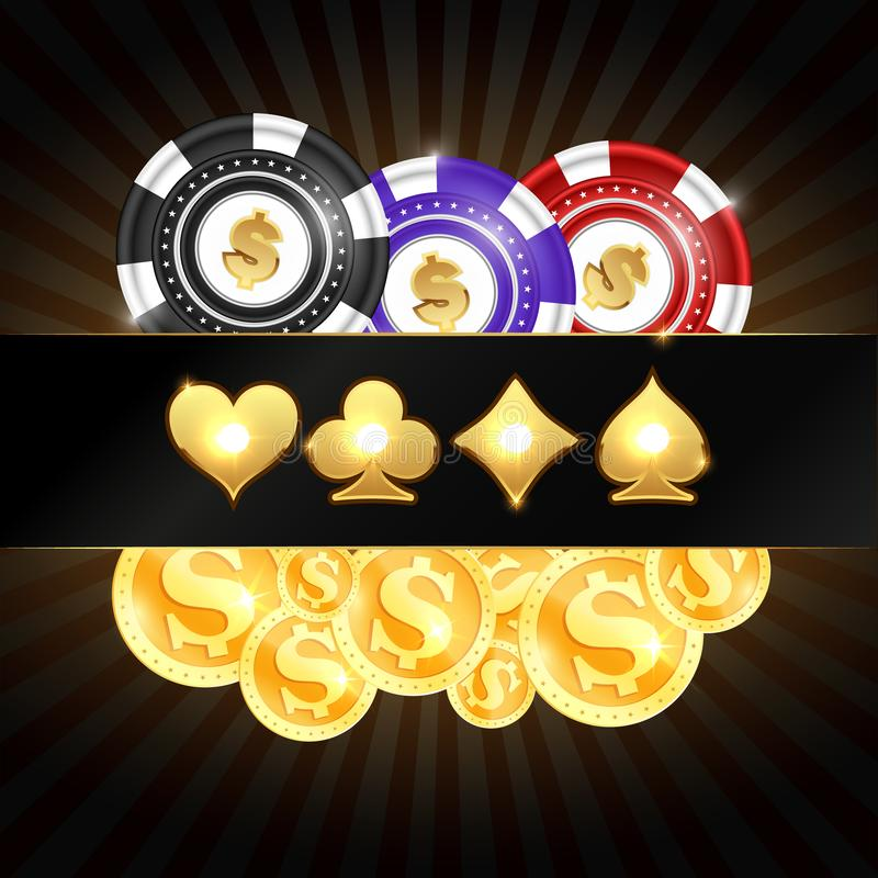 Gold coins and casino chips stock illustration
