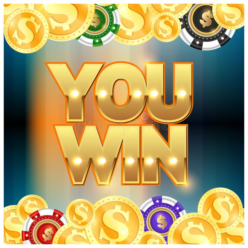 Gold coins and chips you win. Gold coins set and casino chips you won vector illustration