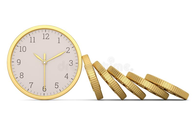 Gold coins and clock isolated on white background. 3D illustration.  stock illustration
