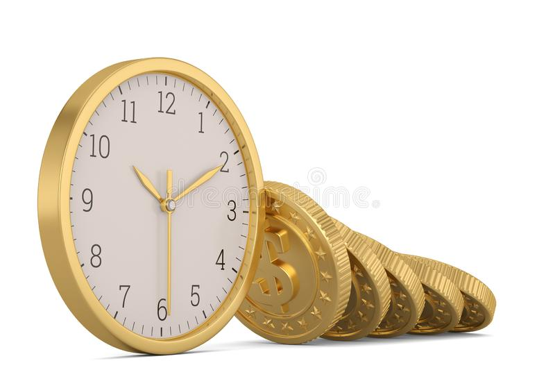 Gold coins and clock isolated on white background. 3D illustration.  vector illustration