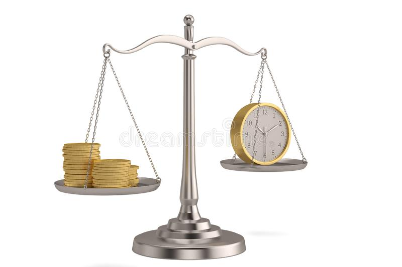 Gold coins and clock on libra over white background. 3D illustration.  royalty free illustration