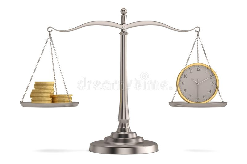 Gold coins and clock on libra over white background. 3D illustration.  stock illustration
