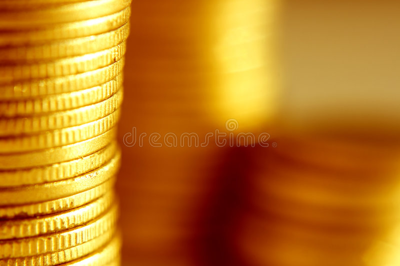 Gold coins close-up stock image