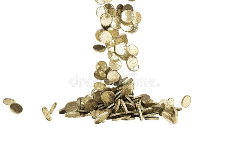 Gold coins with dollar sign fall on graund 3d illustration on a white background no shadow. Gold coins with dollar sign fall on graund 3d illustration on a white vector illustration
