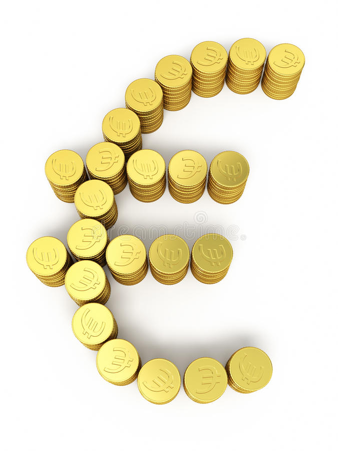 Gold coins euro sign royalty free stock image