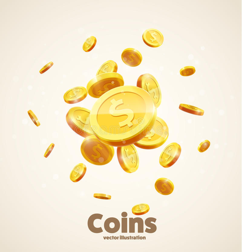 Gold coins falling 3d realistic vector coin icon with shadows is stock illustration