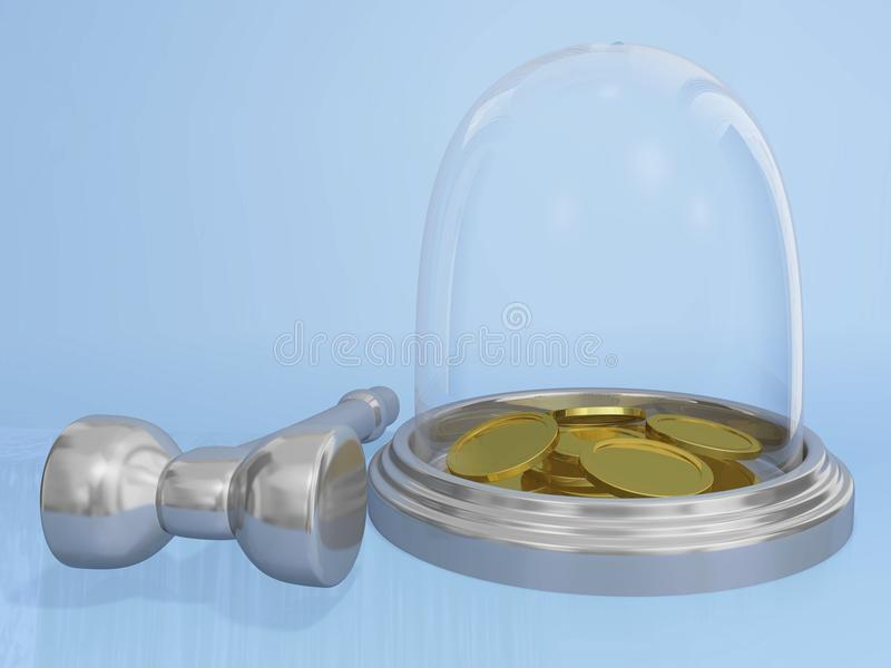 Gold Coins in Glass Bank and Hammer. The 3D illustration shows a glass globe type piggy bank containing gold coins and chrome or steel hammer lying along side royalty free stock images