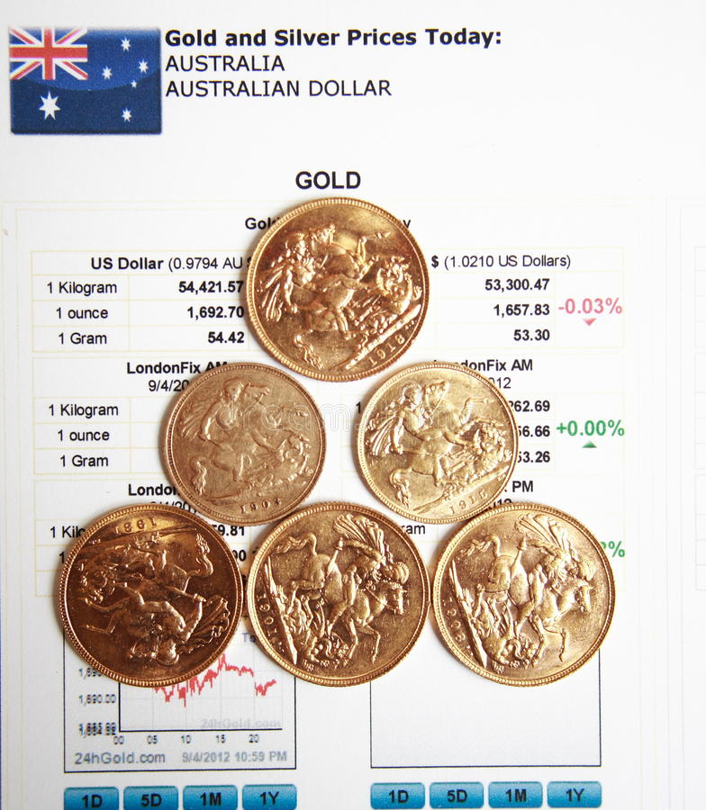 Download Gold Coins On Gold Price Article Background Stock Image - Image: 26461039