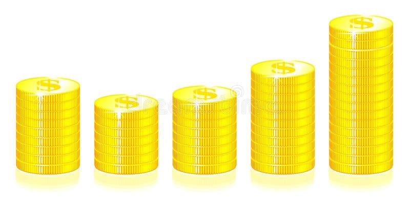 Gold Coins Graph Royalty Free Stock Photos