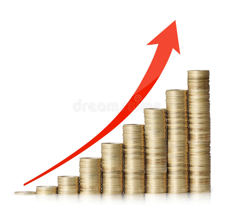 Gold the coins and the graph them. Gold the coins and graph them stock photos
