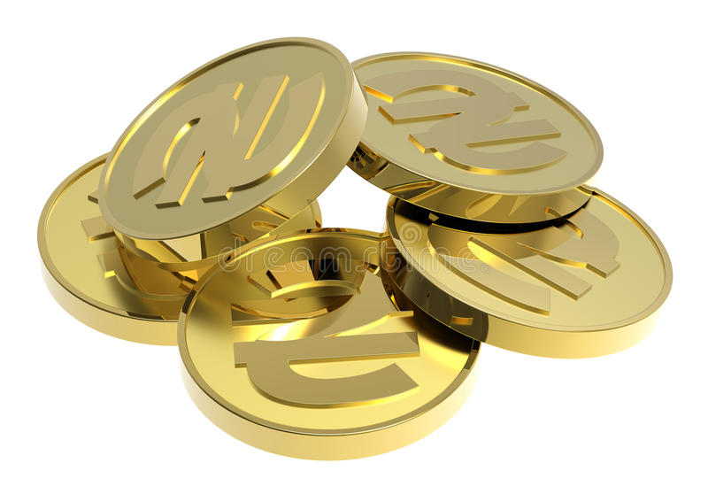Gold coins isolated on a white background. royalty free stock photo