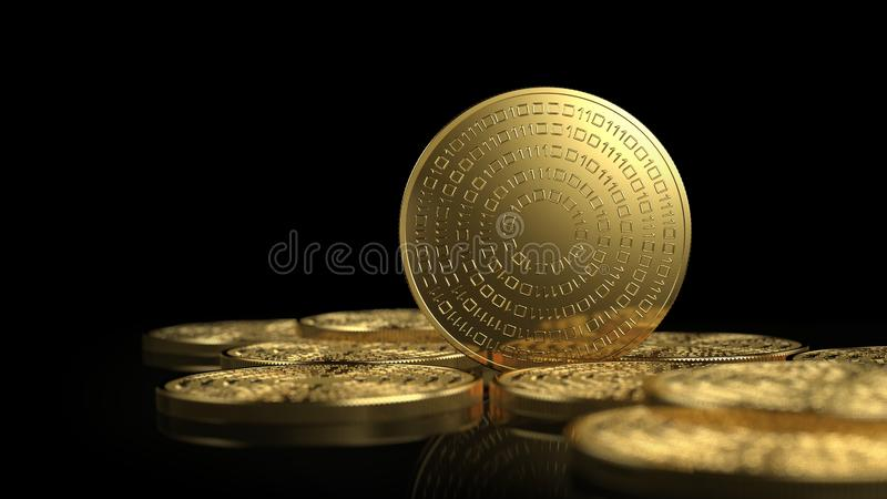 Gold coins isolated on white background. Cryptocurrency concept. 3d illustration royalty free illustration