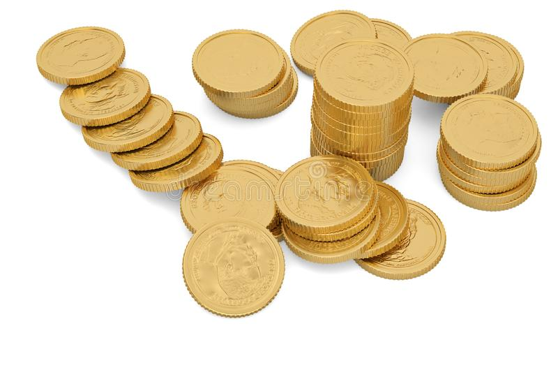 Gold coins isolated on white background 3D illustration. Gold coins isolated on white background 3D illustration vector illustration