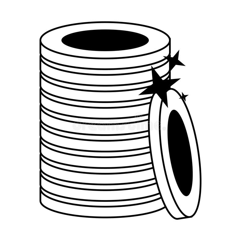 Gold coins piled up symbol isolated in black and white. Gold coins piled up symbol isolated vector illustration graphic design stock illustration