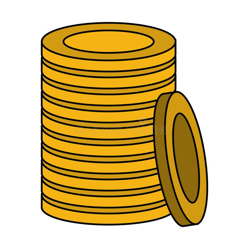 Gold coins piled up symbol isolated. Vector illustration graphic design royalty free illustration