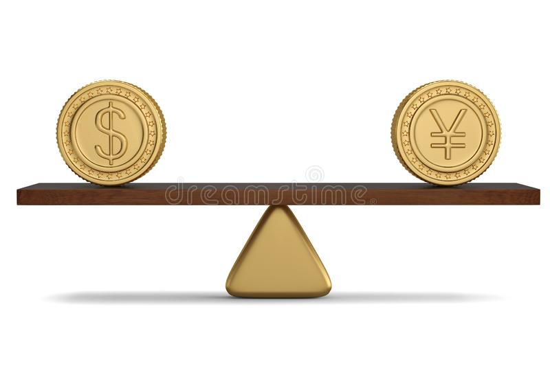 Gold coins on the seesaw.3D illustration. Gold coins on the seesaw. 3D illustration vector illustration