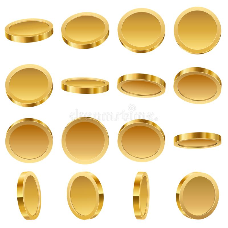 Gold Coins Set vector illustration