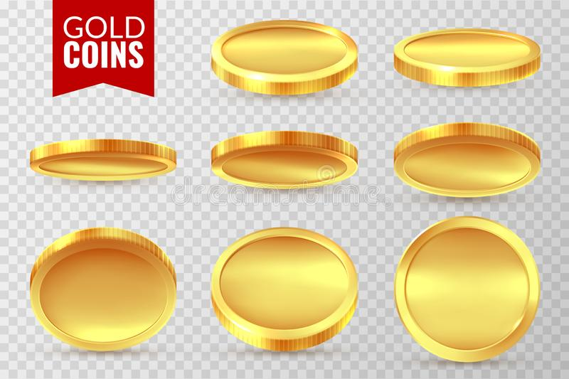 Gold coins set. Realistic golden coin, money cash finance payment symbols. Bingo jackpot casino dollar isolated vector stock illustration