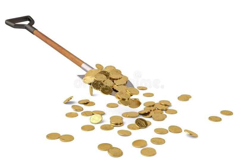 Gold coins on shovel on white background 3D illustration. Gold coins on shovel on white background n 3D illustration vector illustration