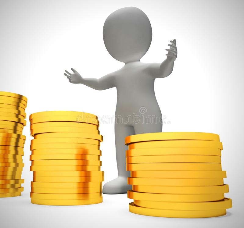 Gold coins in a stack depict wealth and ready money- 3d illustration. Gold coins in a stack depict wealth and ready money. A reserved fund of cash and income stock illustration