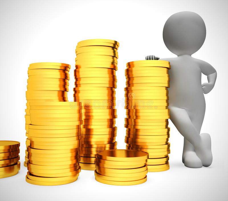 Gold coins in a stack depict wealth and ready money- 3d illustration. Gold coins in a stack depict wealth and ready money. A reserved fund of cash and income vector illustration