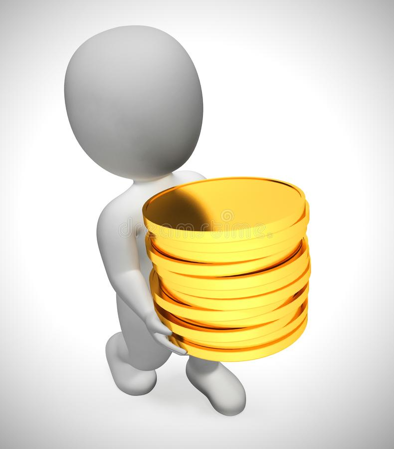 Gold coins in a stack depict wealth and ready money- 3d illustration. Gold coins in a stack depict wealth and ready money. A reserved fund of cash and income royalty free illustration