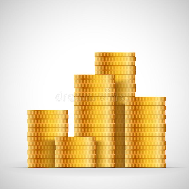 Gold coins stack. Money coins icon design business concept. Vector cash currency illustration vector illustration