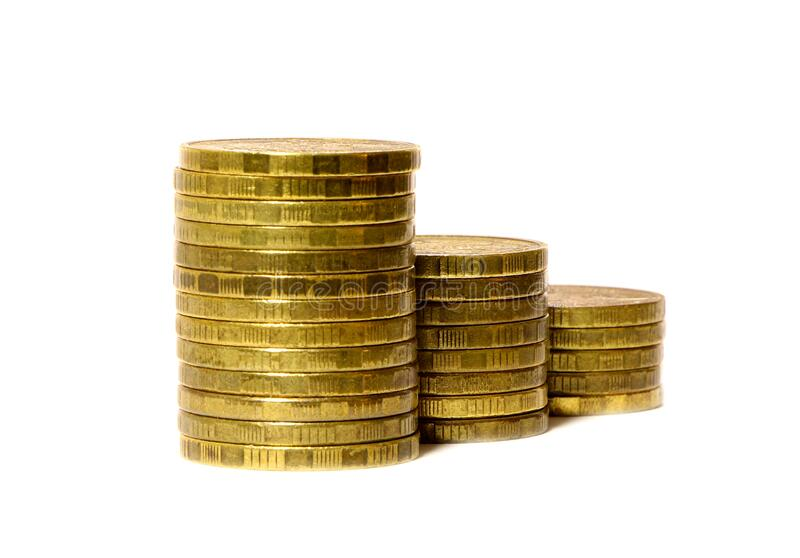 Gold coins stacks isolated on white background.  stock photos