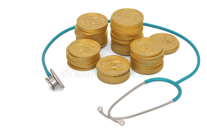 Gold coins with stethoscope isolated on white background. 3D illustration.  vector illustration