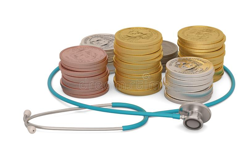 Gold coins with stethoscope isolated on white background. 3D illustration.  stock illustration